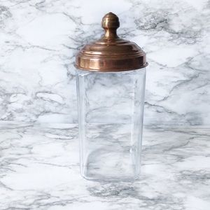 Other - Tall Glass Storage Container With Copper Lid